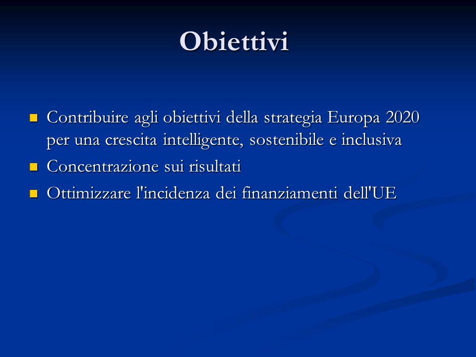 Obiettivi Contribuire agli obiettivi della strategia Europa 2020 per una crescita intelligente, sostenibile e inclusiva Contribuire agli obiettivi della strategia Europa 2020 per una crescita intelligente, sostenibile e inclusiva Concentrazione sui risultati Concentrazione sui risultati Ottimizzare l incidenza dei finanziamenti dell UE Ottimizzare l incidenza dei finanziamenti dell UE