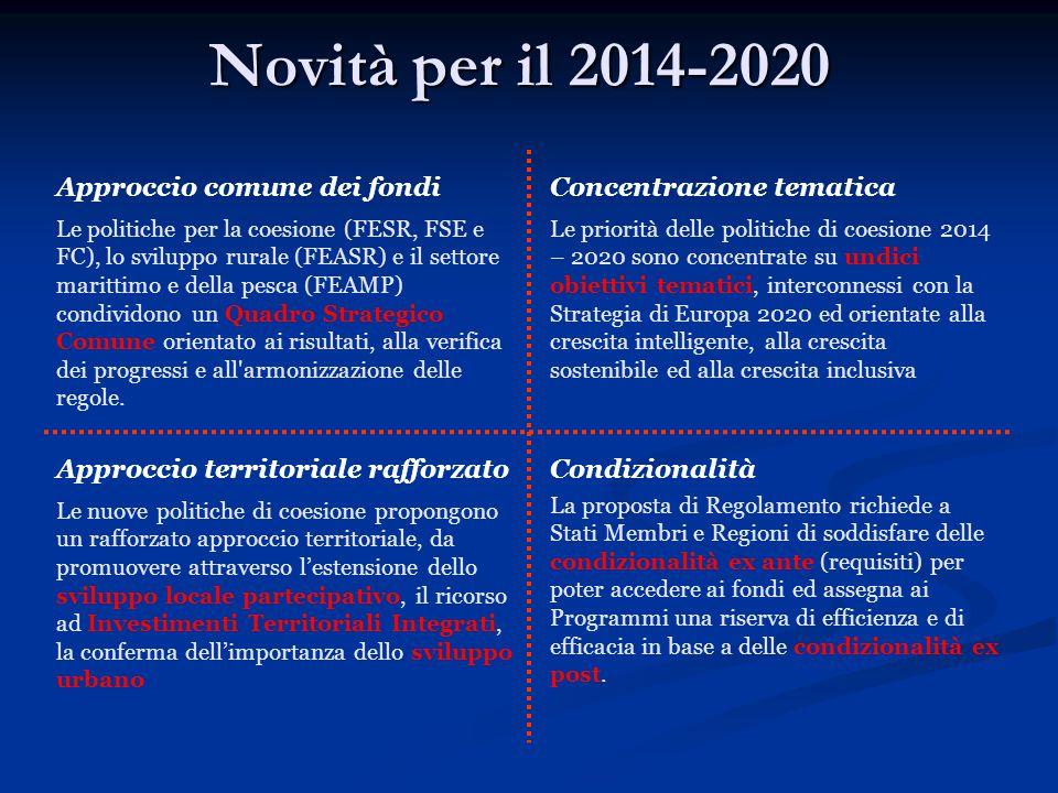 Novità per il 2014-2020 Approccio comune dei fondi Le politiche per la coesione (FESR, FSE e FC), lo sviluppo rurale (FEASR) e il settore marittimo e della pesca (FEAMP) condividono un Quadro Strategico Comune orientato ai risultati, alla verifica dei progressi e all armonizzazione delle regole.
