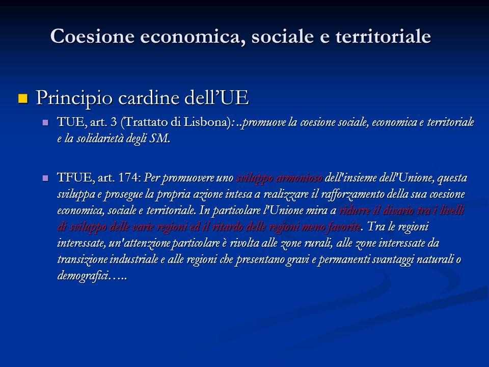Coesione economica, sociale e territoriale Principio cardine dell'UE Principio cardine dell'UE TUE, art. 3 (Trattato di Lisbona):..promuove la coesion