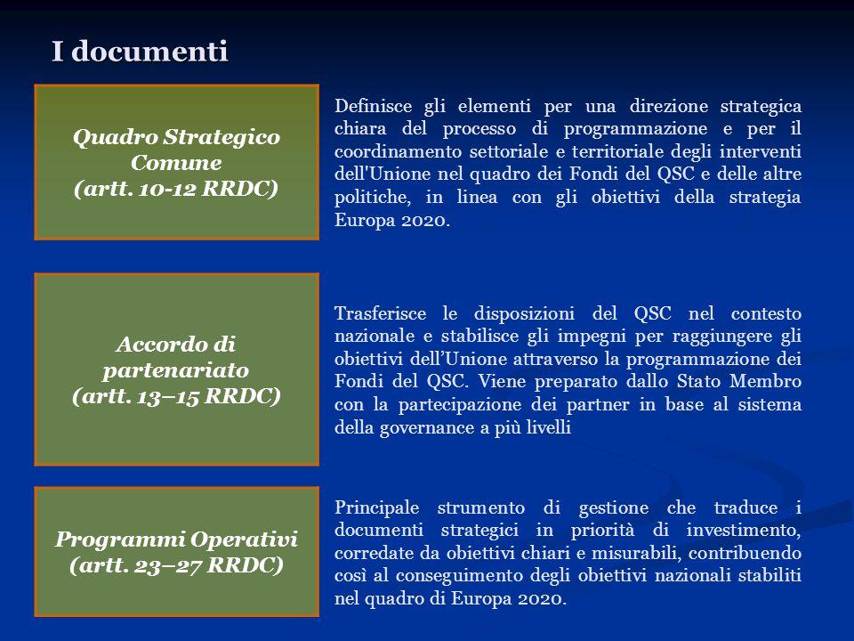 I documenti Quadro Strategico Comune (artt. 10-12 RRDC) Definisce gli elementi per una direzione strategica chiara del processo di programmazione e pe