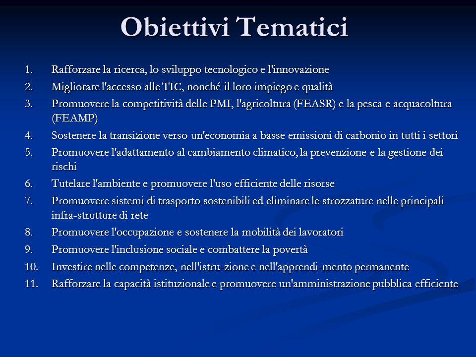 Obiettivi Tematici 1.Rafforzare la ricerca, lo sviluppo tecnologico e l'innovazione 2.Migliorare l'accesso alle TIC, nonché il loro impiego e qualità