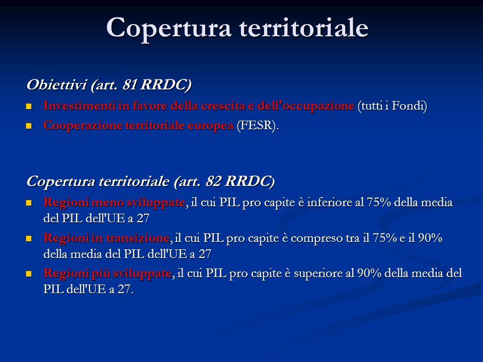 Copertura territoriale Obiettivi (art. 81 RRDC) Investimenti in favore della crescita e dell'occupazione (tutti i Fondi) Investimenti in favore della