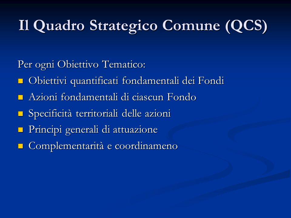 Il Quadro Strategico Comune (QCS) Per ogni Obiettivo Tematico: Obiettivi quantificati fondamentali dei Fondi Obiettivi quantificati fondamentali dei Fondi Azioni fondamentali di ciascun Fondo Azioni fondamentali di ciascun Fondo Specificità territoriali delle azioni Specificità territoriali delle azioni Principi generali di attuazione Principi generali di attuazione Complementarità e coordinameno Complementarità e coordinameno