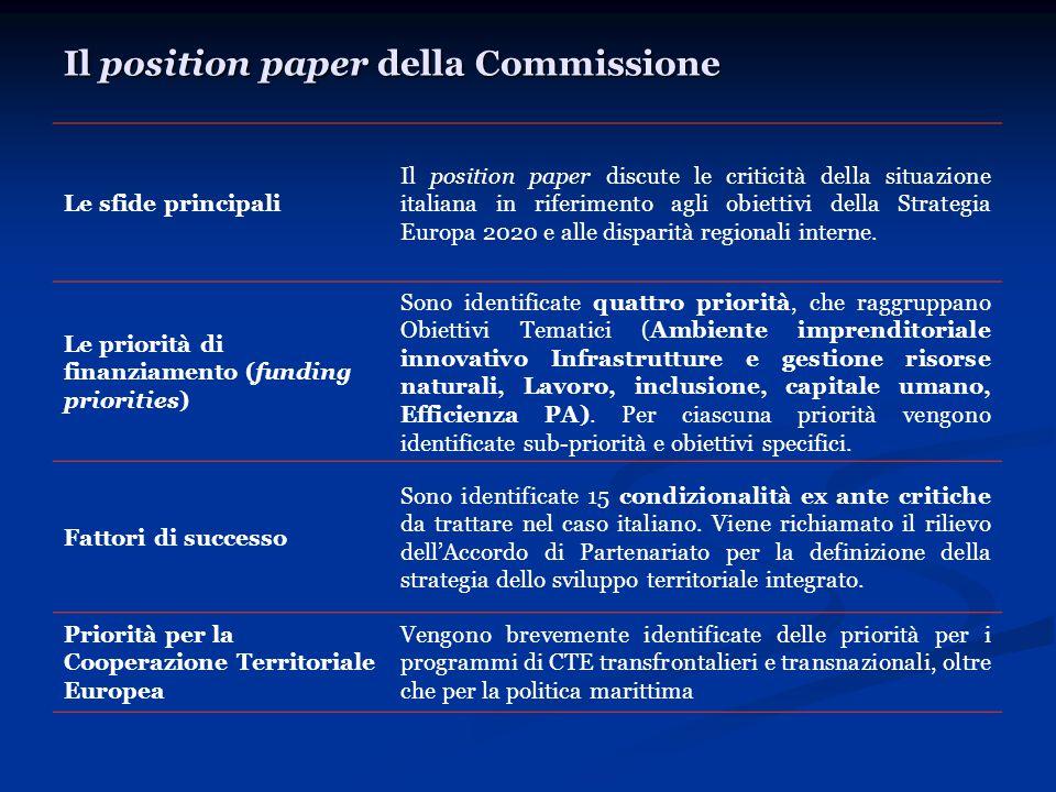 Il position paper della Commissione Le sfide principali Il position paper discute le criticità della situazione italiana in riferimento agli obiettivi della Strategia Europa 2020 e alle disparità regionali interne.