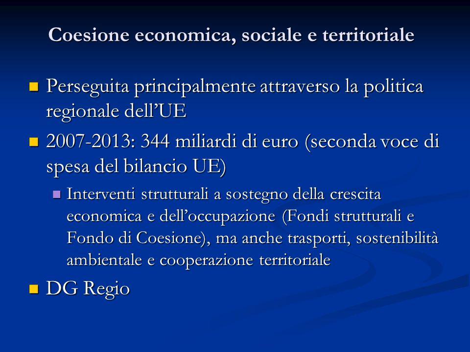 Coesione economica, sociale e territoriale Perseguita principalmente attraverso la politica regionale dell'UE Perseguita principalmente attraverso la politica regionale dell'UE 2007-2013: 344 miliardi di euro (seconda voce di spesa del bilancio UE) 2007-2013: 344 miliardi di euro (seconda voce di spesa del bilancio UE) Interventi strutturali a sostegno della crescita economica e dell'occupazione (Fondi strutturali e Fondo di Coesione), ma anche trasporti, sostenibilità ambientale e cooperazione territoriale Interventi strutturali a sostegno della crescita economica e dell'occupazione (Fondi strutturali e Fondo di Coesione), ma anche trasporti, sostenibilità ambientale e cooperazione territoriale DG Regio DG Regio