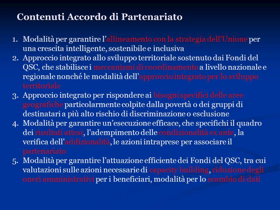 Contenuti Accordo di Partenariato 1.Modalità per garantire l'allineamento con la strategia dell'Unione per una crescita intelligente, sostenibile e in