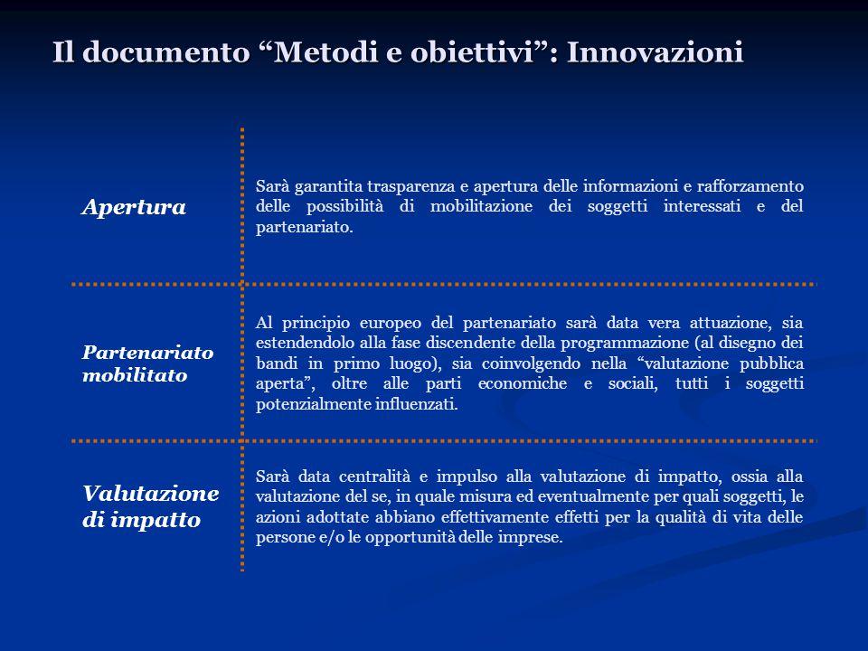 Il documento Metodi e obiettivi : Innovazioni Apertura Sarà garantita trasparenza e apertura delle informazioni e rafforzamento delle possibilità di mobilitazione dei soggetti interessati e del partenariato.