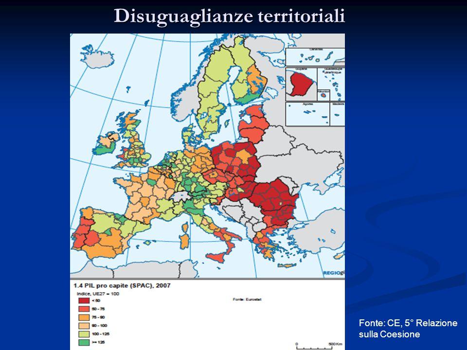 Disuguaglianze territoriali Fonte: CE, 5° Relazione sulla Coesione