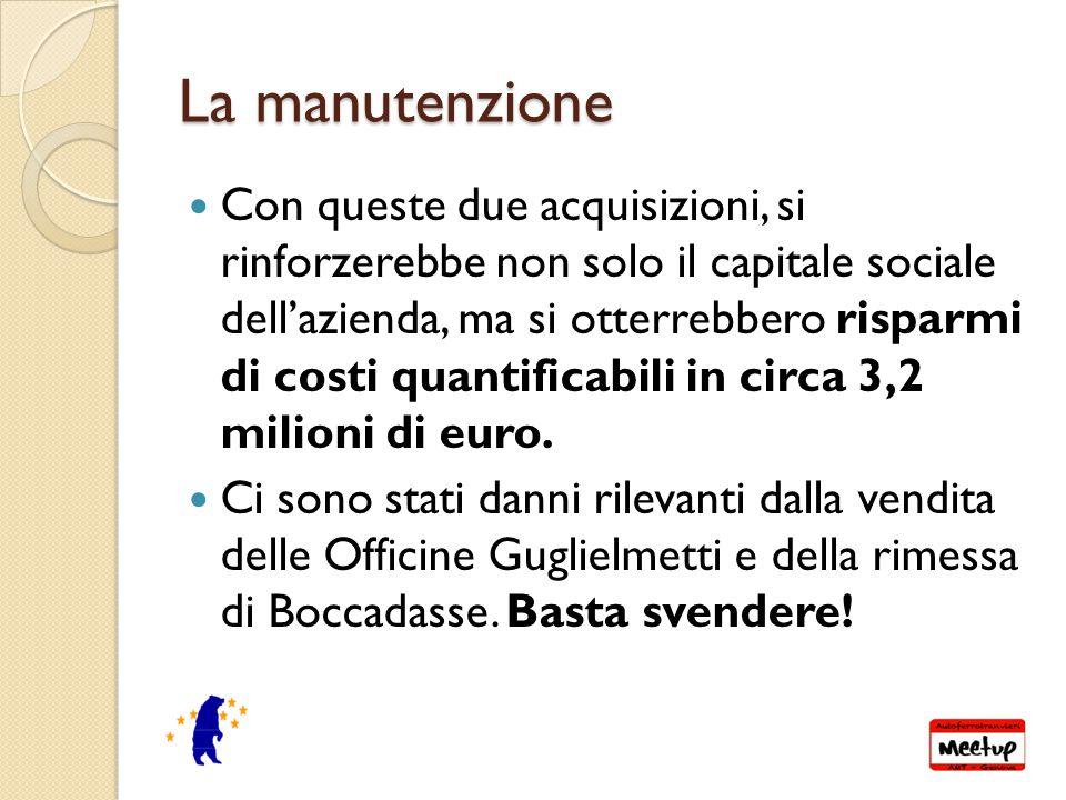 La manutenzione Con queste due acquisizioni, si rinforzerebbe non solo il capitale sociale dell'azienda, ma si otterrebbero risparmi di costi quantificabili in circa 3,2 milioni di euro.