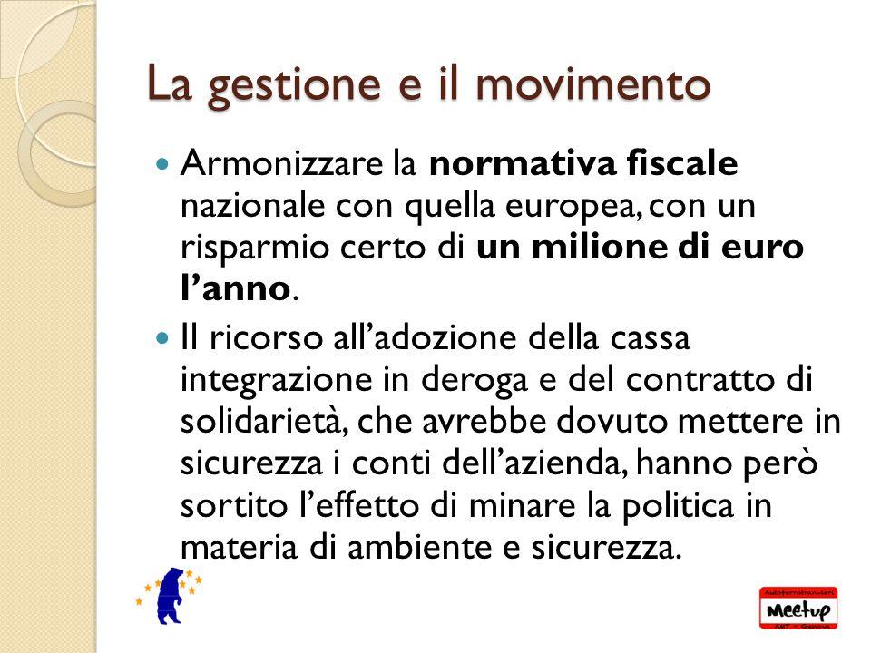 La gestione e il movimento Armonizzare la normativa fiscale nazionale con quella europea, con un risparmio certo di un milione di euro l'anno.