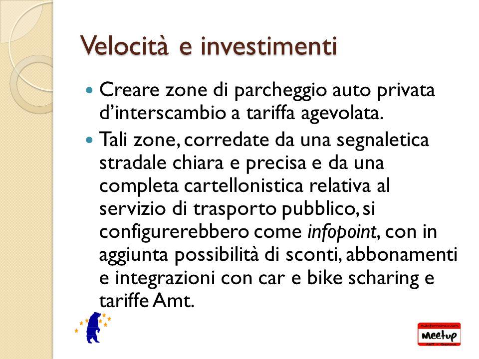 Velocità e investimenti Creare zone di parcheggio auto privata d'interscambio a tariffa agevolata.