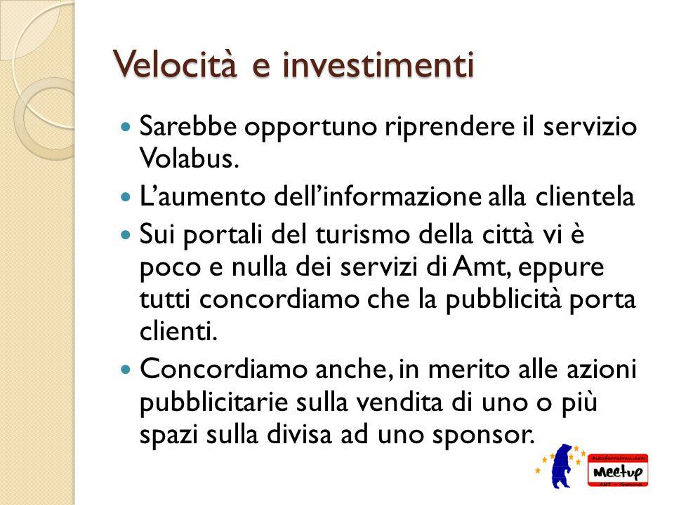 Velocità e investimenti Sarebbe opportuno riprendere il servizio Volabus.
