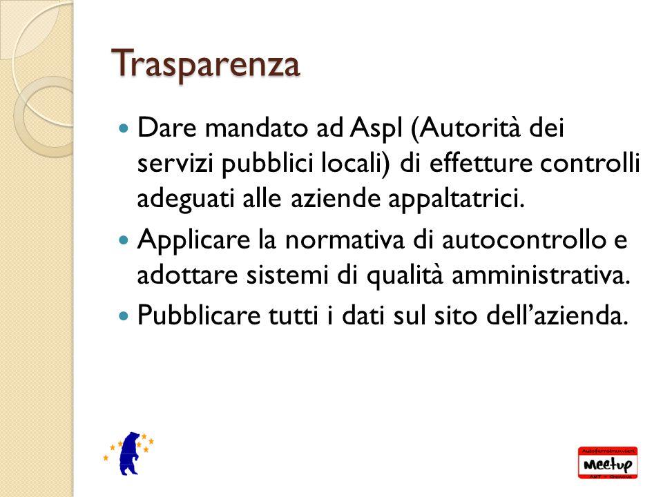 Trasparenza Dare mandato ad Aspl (Autorità dei servizi pubblici locali) di effetture controlli adeguati alle aziende appaltatrici.