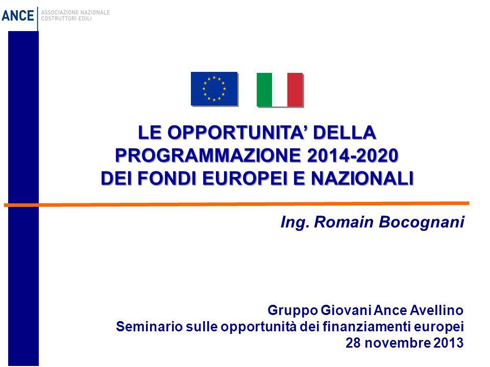 LE OPPORTUNITA' DELLA PROGRAMMAZIONE 2014-2020 DEI FONDI EUROPEI E NAZIONALI Gruppo Giovani Ance Avellino Seminario sulle opportunità dei finanziamenti europei 28 novembre 2013 Ing.