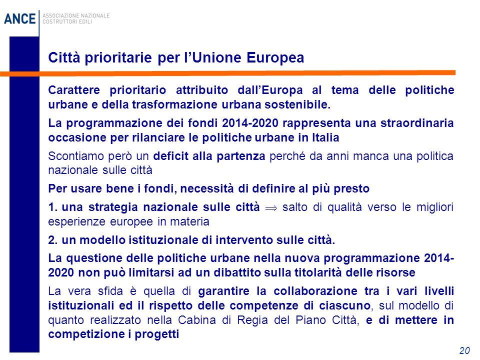 Città prioritarie per l'Unione Europea Carattere prioritario attribuito dall'Europa al tema delle politiche urbane e della trasformazione urbana sostenibile.