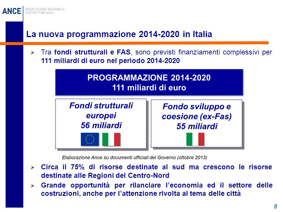 La nuova programmazione 2014-2020 in Italia 8  Tra fondi strutturali e FAS, sono previsti finanziamenti complessivi per 111 miliardi di euro nel peri