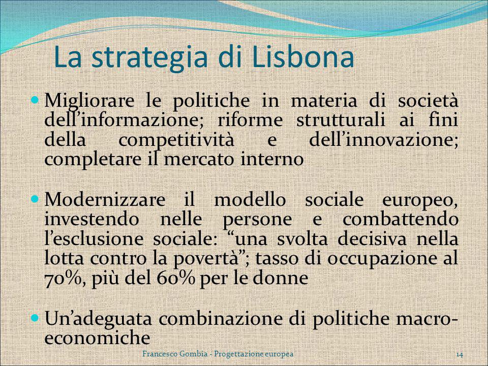 La strategia di Lisbona Migliorare le politiche in materia di società dell'informazione; riforme strutturali ai fini della competitività e dell'innova