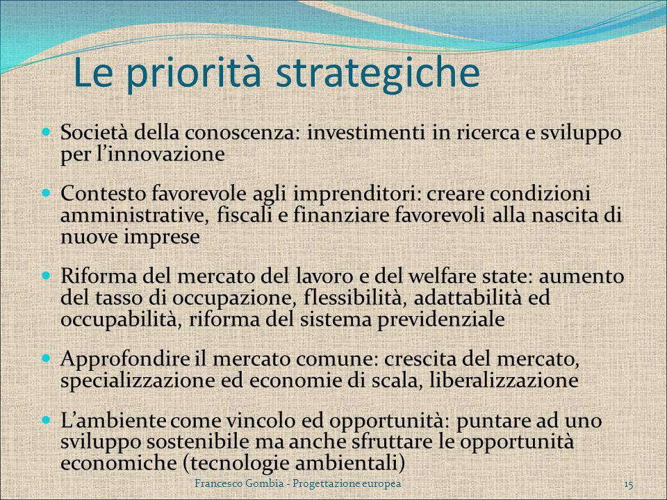 Le priorità strategiche Società della conoscenza: investimenti in ricerca e sviluppo per l'innovazione Contesto favorevole agli imprenditori: creare c