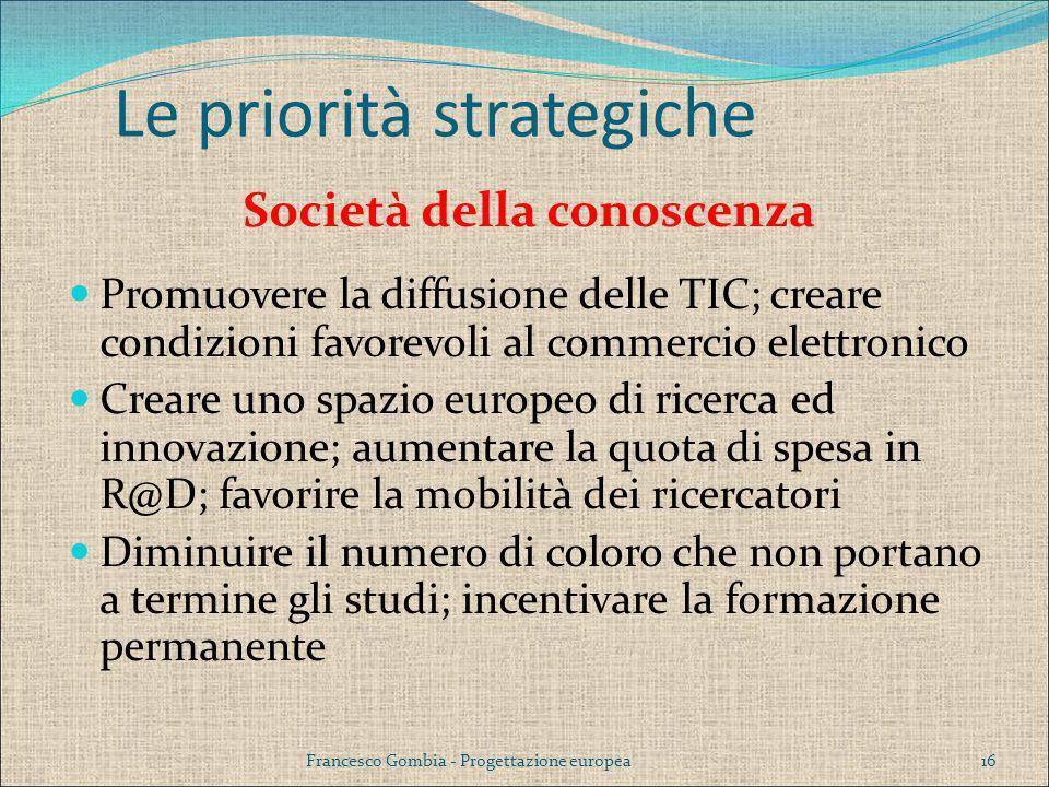 Società della conoscenza Promuovere la diffusione delle TIC; creare condizioni favorevoli al commercio elettronico Creare uno spazio europeo di ricerc