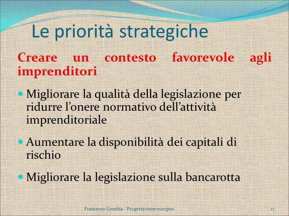 Creare un contesto favorevole agli imprenditori Migliorare la qualità della legislazione per ridurre l'onere normativo dell'attività imprenditoriale A