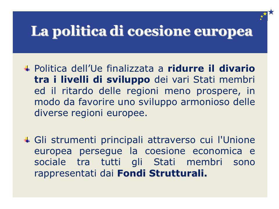 La politica di coesione europea Politica dell'Ue finalizzata a ridurre il divario tra i livelli di sviluppo dei vari Stati membri ed il ritardo delle