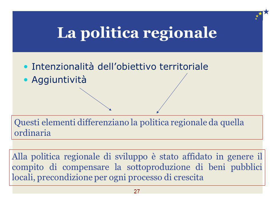 27 La politica regionale Intenzionalità dell'obiettivo territoriale Aggiuntività Questi elementi differenziano la politica regionale da quella ordinar
