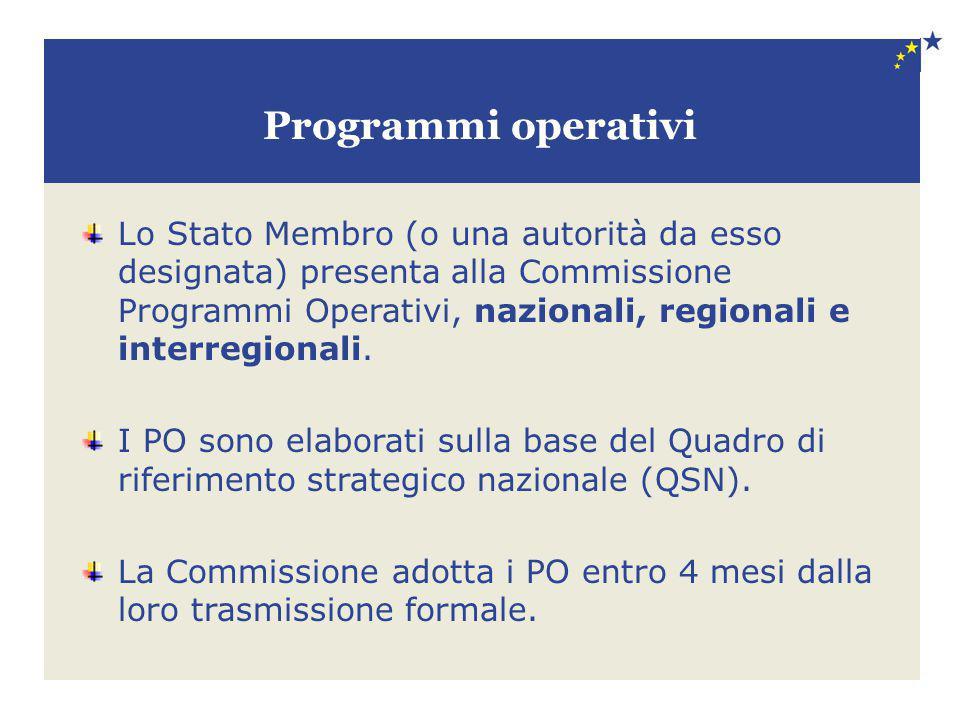 Programmi operativi Lo Stato Membro (o una autorità da esso designata) presenta alla Commissione Programmi Operativi, nazionali, regionali e interregi