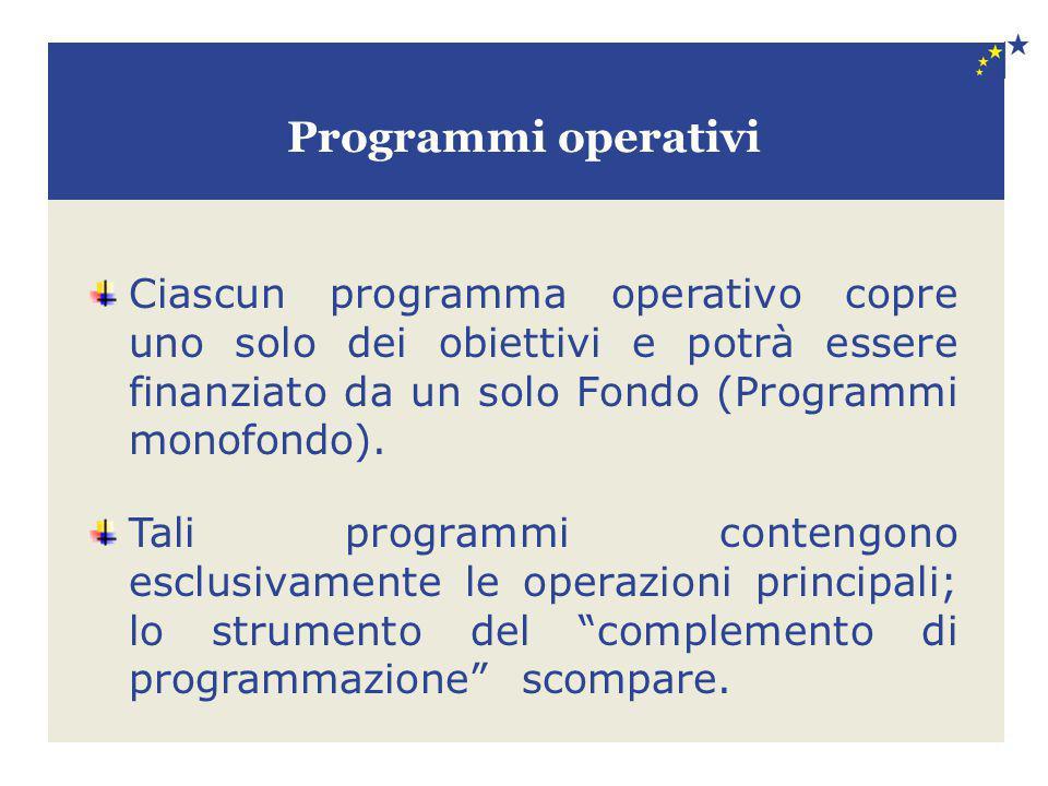 Programmi operativi Ciascun programma operativo copre uno solo dei obiettivi e potrà essere finanziato da un solo Fondo (Programmi monofondo). Tali pr