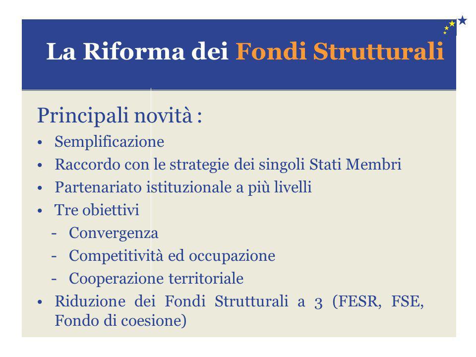 La Riforma dei Fondi Strutturali Principali novità : Semplificazione Raccordo con le strategie dei singoli Stati Membri Partenariato istituzionale a p