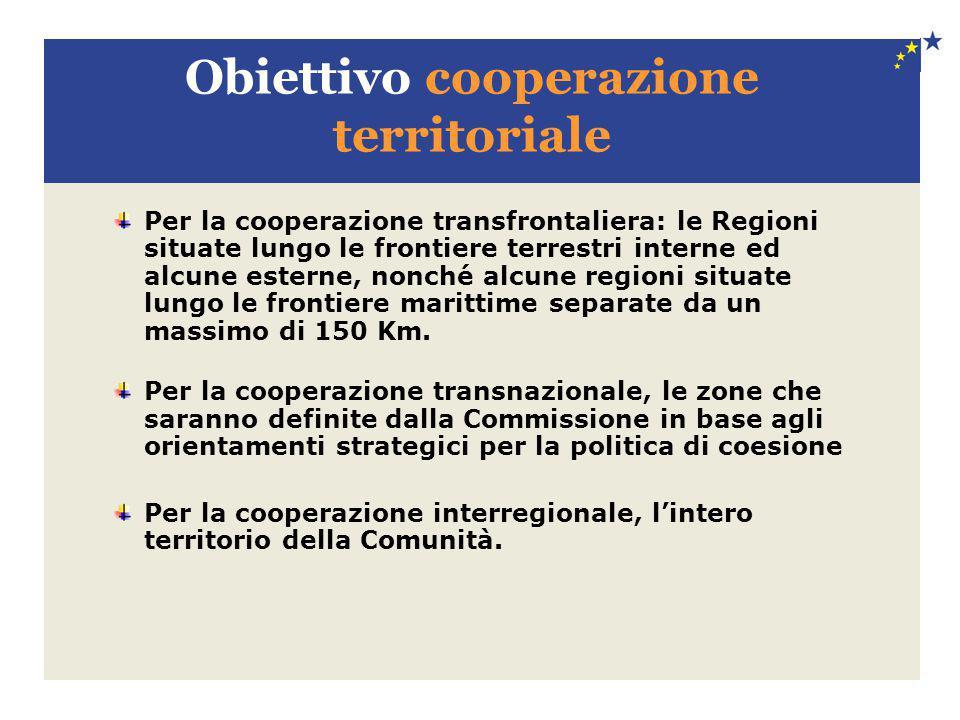Obiettivo cooperazione territoriale Per la cooperazione transfrontaliera: le Regioni situate lungo le frontiere terrestri interne ed alcune esterne, n