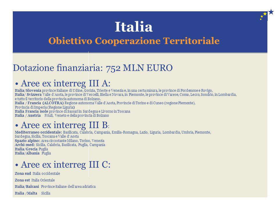 Italia Obiettivo Cooperazione Territoriale Dotazione finanziaria: 752 MLN EURO Aree ex interreg III A: Italia/Slovenia province italiane di Udine, Gor