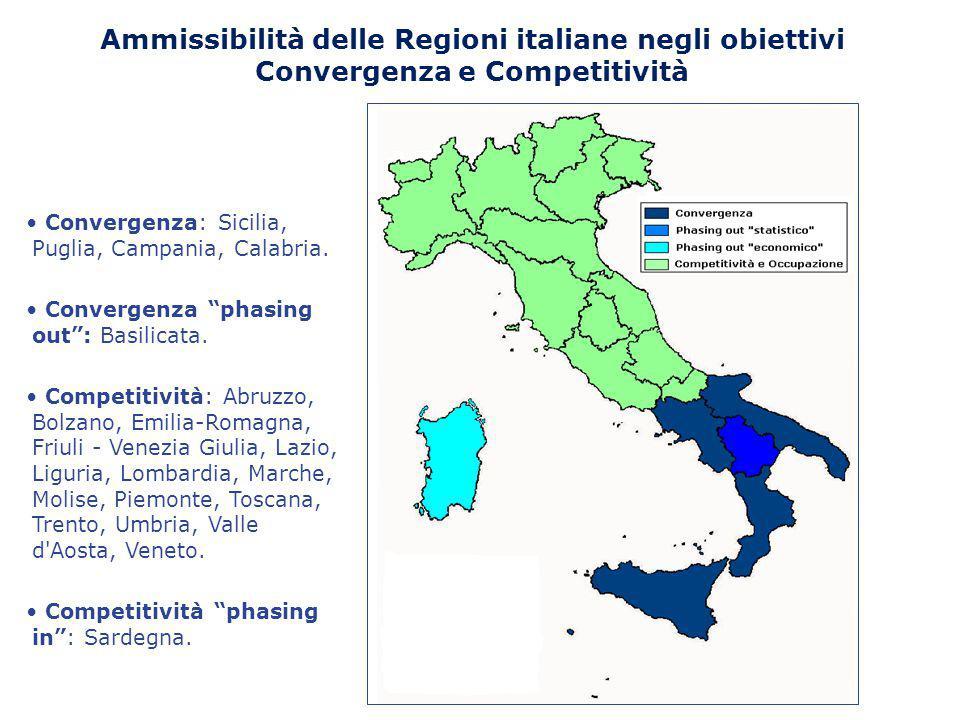 """Ammissibilità delle Regioni italiane negli obiettivi Convergenza e Competitività Convergenza: Sicilia, Puglia, Campania, Calabria. Convergenza """"phasin"""