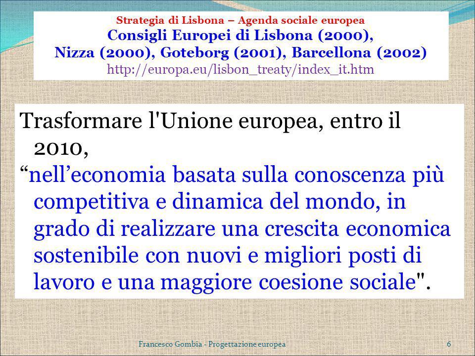 Strategia di Lisbona – Agenda sociale europea Consigli Europei di Lisbona (2000), Nizza (2000), Goteborg (2001), Barcellona (2002) http://europa.eu/li