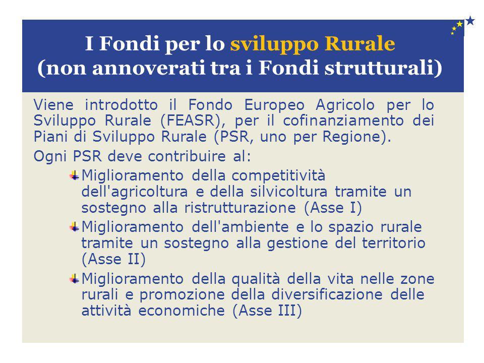 I Fondi per lo sviluppo Rurale (non annoverati tra i Fondi strutturali) Viene introdotto il Fondo Europeo Agricolo per lo Sviluppo Rurale (FEASR), per