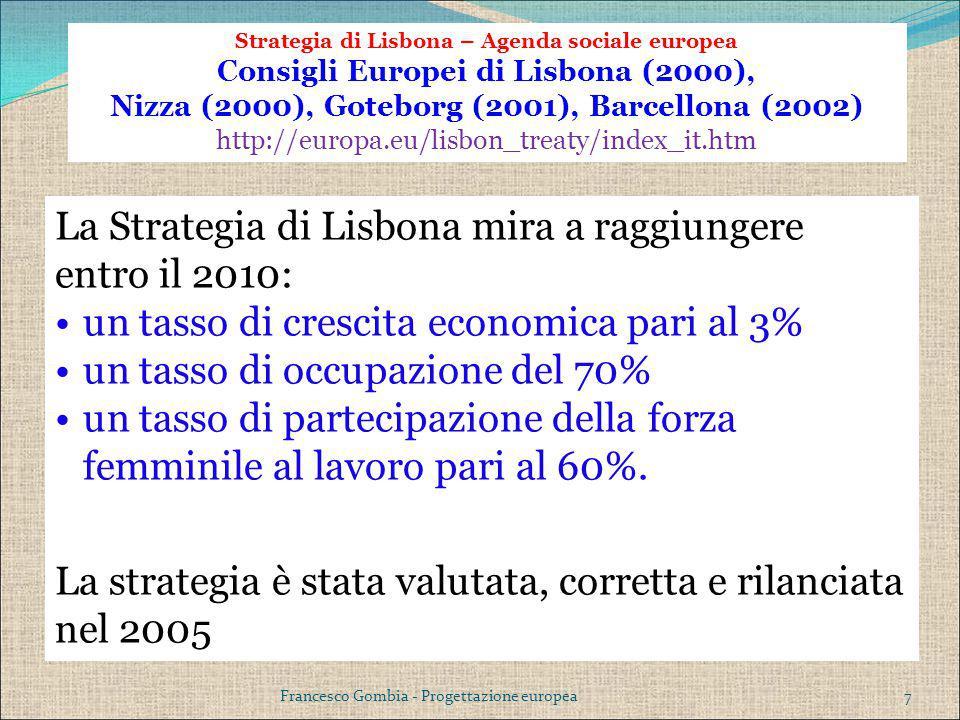 La Strategia di Lisbona mira a raggiungere entro il 2010: un tasso di crescita economica pari al 3% un tasso di occupazione del 70% un tasso di partec