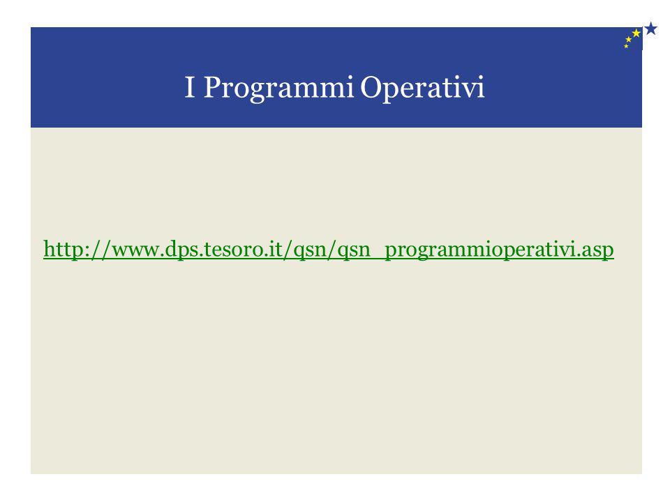 I Programmi Operativi http://www.dps.tesoro.it/qsn/qsn_programmioperativi.asp