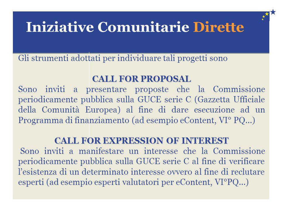 Iniziative Comunitarie Dirette Gli strumenti adottati per individuare tali progetti sono CALL FOR PROPOSAL Sono inviti a presentare proposte che la Co