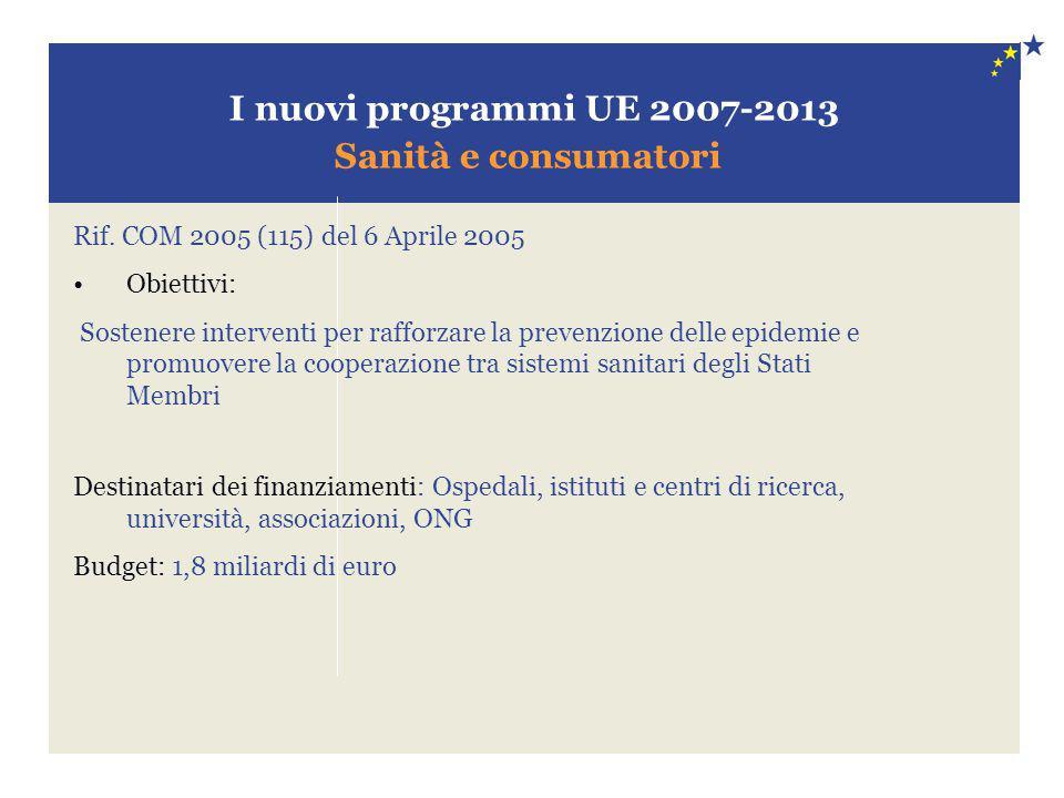 I nuovi programmi UE 2007-2013 Sanità e consumatori Rif. COM 2005 (115) del 6 Aprile 2005 Obiettivi: Sostenere interventi per rafforzare la prevenzion