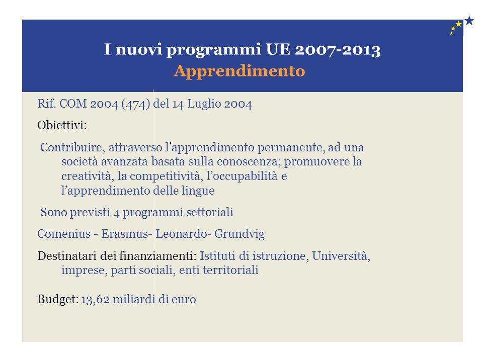 I nuovi programmi UE 2007-2013 Apprendimento Rif. COM 2004 (474) del 14 Luglio 2004 Obiettivi: Contribuire, attraverso l'apprendimento permanente, ad