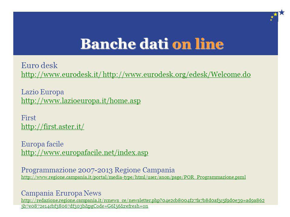 Banche dati on line Banche dati on line Euro desk http://www.eurodesk.it/ http://www.eurodesk.org/edesk/Welcome.do Lazio Europa http://www.lazioeuropa