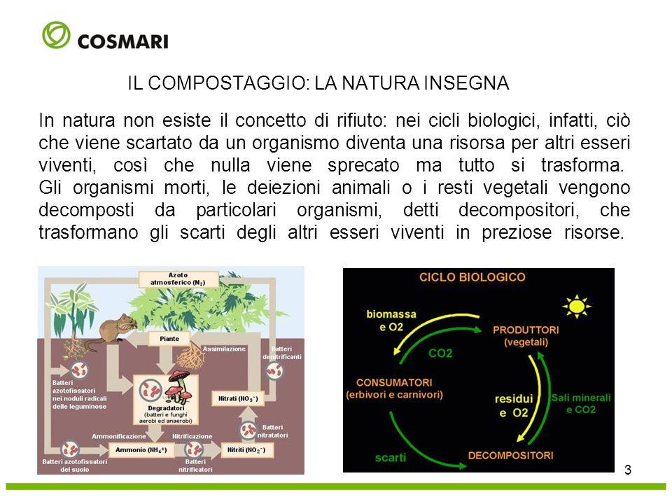 Umidità del materiale 14 IL COMPOSTAGGIO : I PARAMETRI DEL PROCESSO Il compostaggio è un processo che coinvolge tre fasi: solida (substrato da degradare), liquida (soluzione pellicolare attorno alle particelle solide) e aerea (aria presente nelle porosità) L'acqua pellicolare è essenziale per garantire il trasferimento dell'O 2 (e degli altri gas prodotti (CO 2, NH 3 ecc.) in fase liquida dove sono presenti i microrganismi Per garantire un buon processo l'UMIDITA' deve essere compresa tra 40% e il 65% U%<40  rallentamento attività U%<20  cessazione attività microbica U%:50-55  massima attività di degradazione
