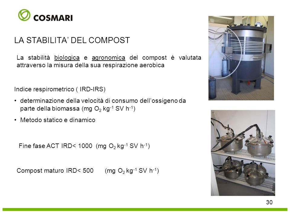 30 LA STABILITA' DEL COMPOST La stabilità biologica e agronomica del compost è valutata attraverso la misura della sua respirazione aerobica Indice re