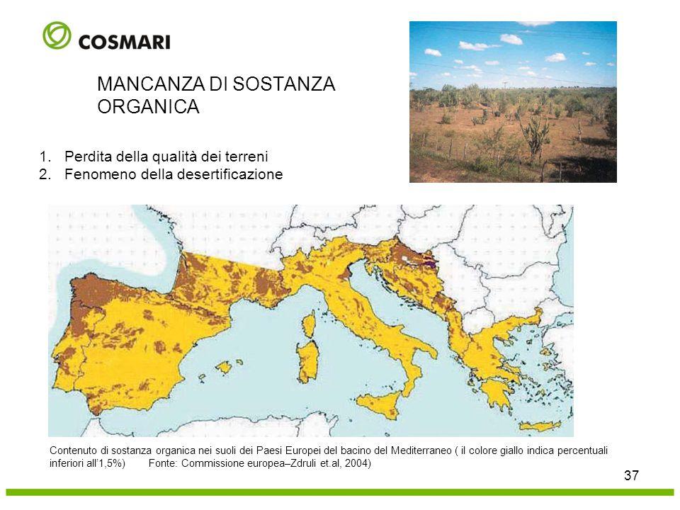 37 MANCANZA DI SOSTANZA ORGANICA Contenuto di sostanza organica nei suoli dei Paesi Europei del bacino del Mediterraneo ( il colore giallo indica perc