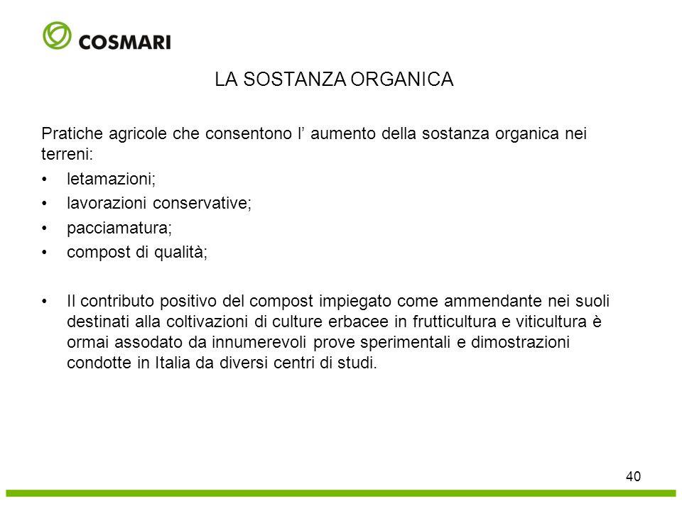 Pratiche agricole che consentono l' aumento della sostanza organica nei terreni: letamazioni; lavorazioni conservative; pacciamatura; compost di quali