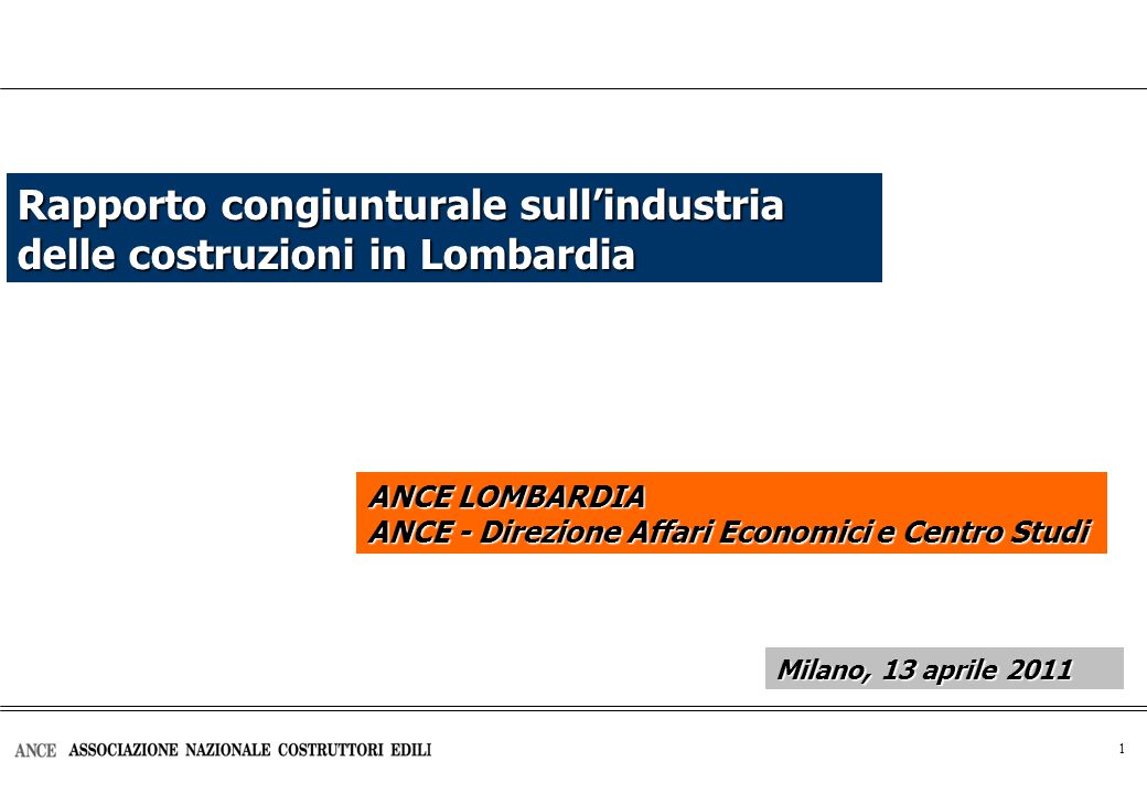 2 Investimenti in costruzioni (*) Investimenti in costruzioni in Italia Milioni di euro 2000 ANCE LOMBARDIA Milano, 13 aprile 2011