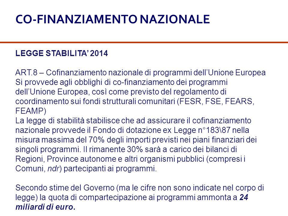 LEGGE STABILITA' 2014 ART.8 – Cofinanziamento nazionale di programmi dell'Unione Europea Si provvede agli obblighi di co-finanziamento dei programmi d