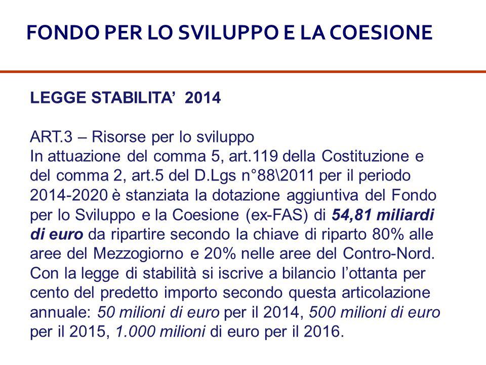 LEGGE STABILITA' 2014 ART.3 – Risorse per lo sviluppo In attuazione del comma 5, art.119 della Costituzione e del comma 2, art.5 del D.Lgs n°88\2011 p