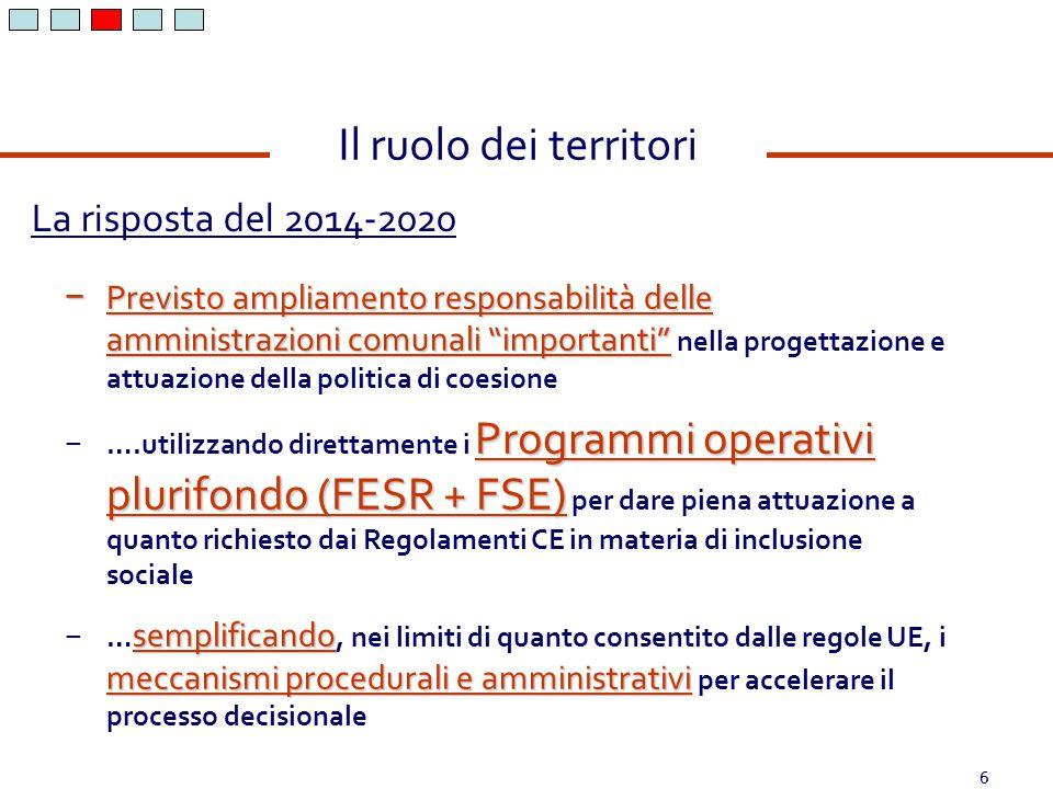 """6 La risposta del 2014-2020 Il ruolo dei territori − Previsto ampliamento responsabilità delle amministrazioni comunali """"importanti"""" − Previsto amplia"""