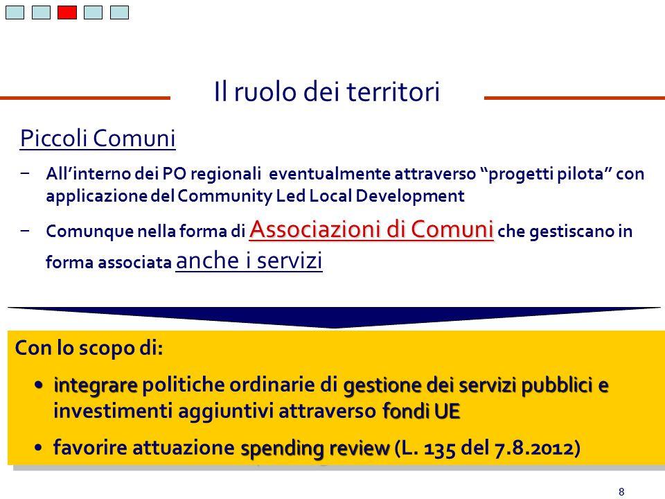 8 Con lo scopo di: integraregestione dei servizi pubblicie fondi UEintegrare politiche ordinarie di gestione dei servizi pubblici e investimenti aggiu