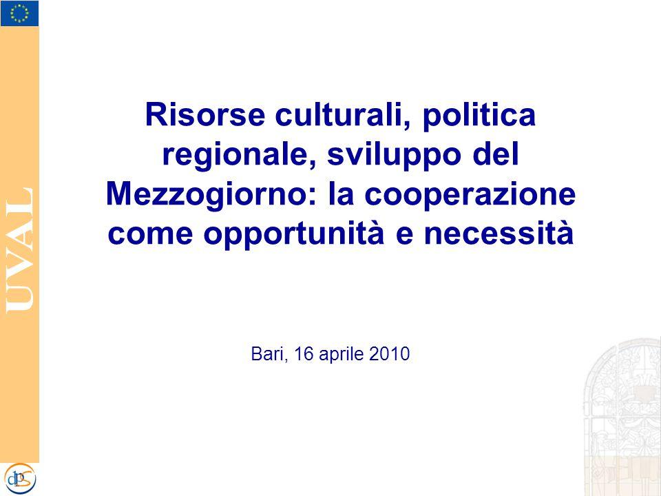 Risorse culturali, politica regionale, sviluppo del Mezzogiorno: la cooperazione come opportunità e necessità Bari, 16 aprile 2010
